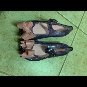 Girls Purple Glitter Jelly Sandals 10/11 New